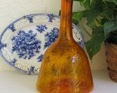 Vintage MCM Orange Crackle Glass Hand Blown Blenko Mid century Modern Glass Art
