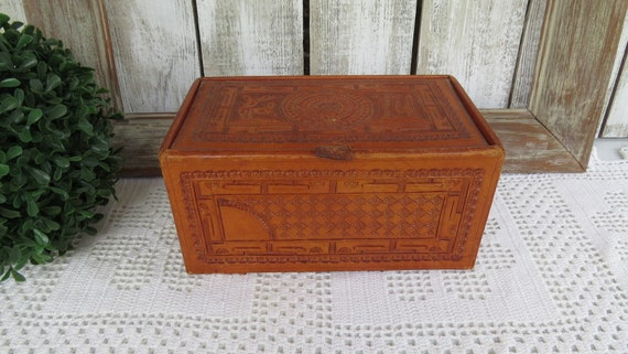 Vintage Tooled Leather Jewelry Box Case - Aztec To