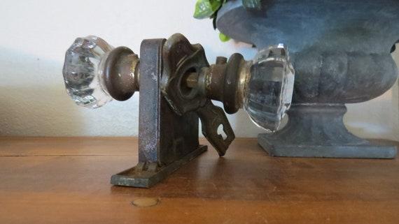 Antique 1800u0027s Glass Door Knob With Hardware Key Hole | Etsy