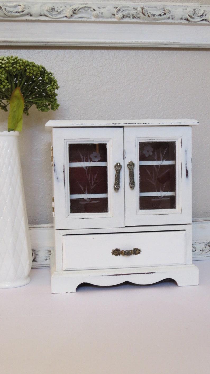 Jewelry Chest Girls Jewelry Box Vintage Wood Jewelry Box Shabby White