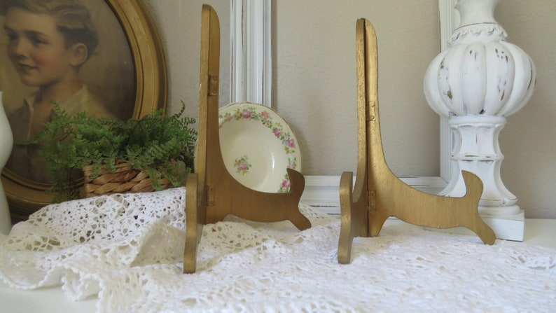 Hollywood Regency Folding Wood Easel Photo Easel Plate Stand Vintage Gold tone Easel Display Stands