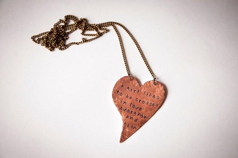 49f48d8af8 Collana lunga con cuore e frase personalizzata,rame,gioielli fatti a  mano,collane personalizzate,scritta,citazioni, idee regalo romantiche
