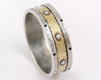Mens 7mm Wedding Band, Mens Engagement Ring, 14k Gold and Silver Wedding Band, Rustic Wedding Band, Rustic Mens Ring, Rustic Gold Ring