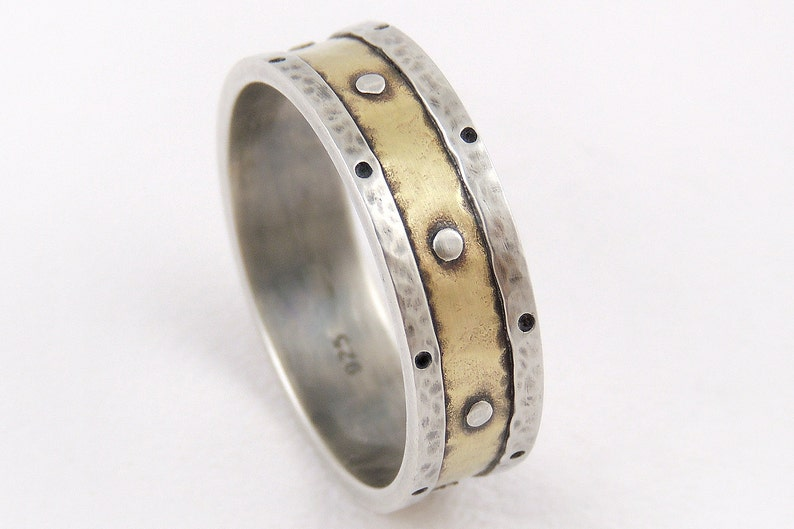Mens 7mm Wedding Band Mens Engagement Ring 14k Gold and image 1