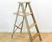 Vintage Wooden Painter 39 s Step Ladder with Lots of Old Paint Spatter, 43 quot H
