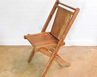 Vintage Wood Slatted Folding Chair, C3