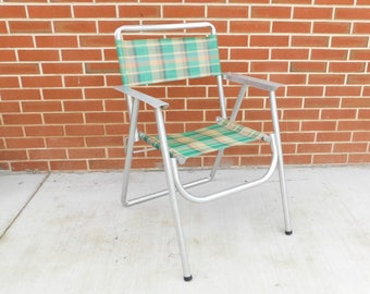Aluminum Frame Folding Lawn Chair, Vintage Deck Chair, Retro Green U0026 Orange  Plaid Chair, Porch, Patio, Camping, Glamping