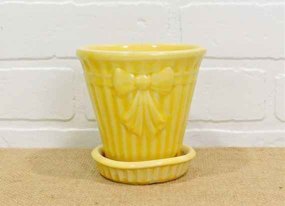 Shawnee pottery flower pot with attached saucer yellow etsy image 0 mightylinksfo