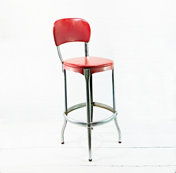 Cosco Kitchen Stool, Red and Chrome Finish Vintage Stool