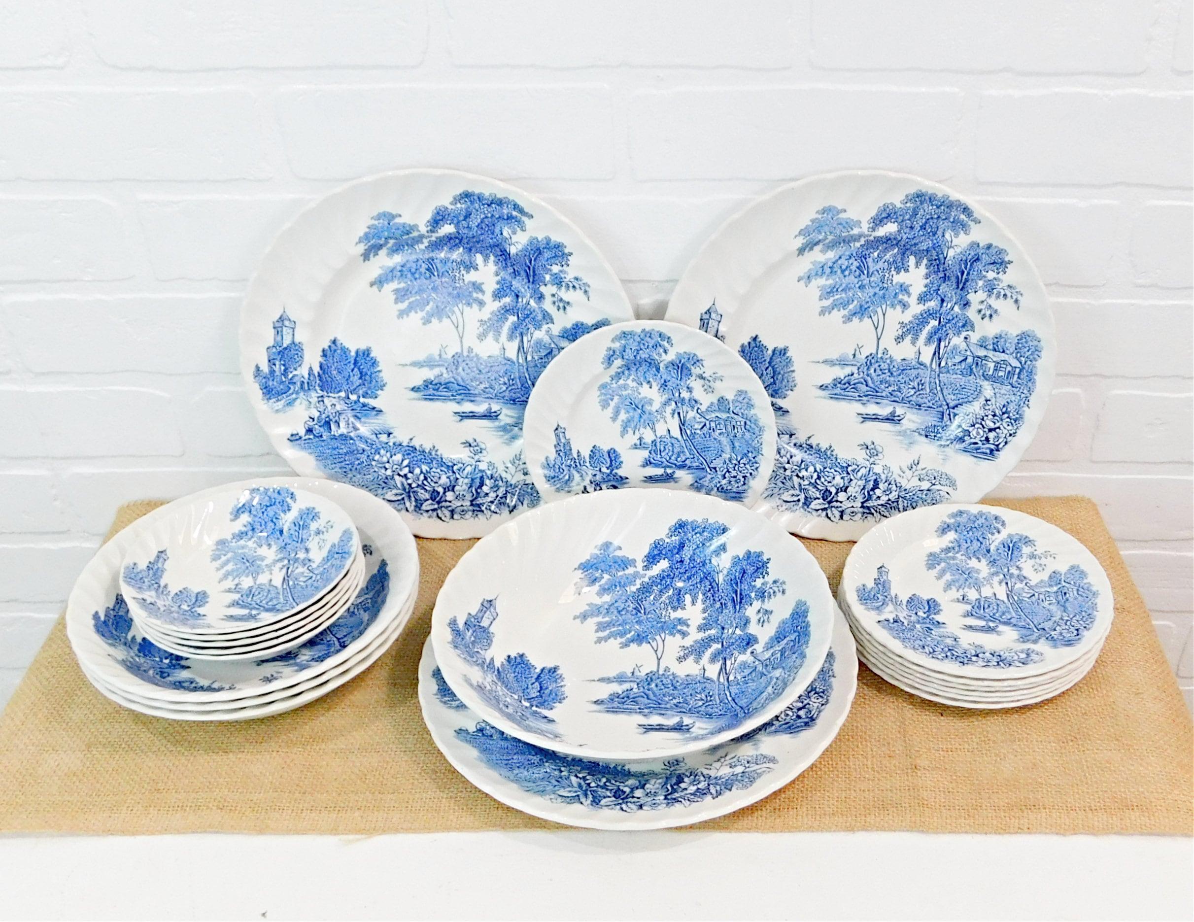 Blue White Vintage Dinnerware Ironstone Dinnerware The Etsy