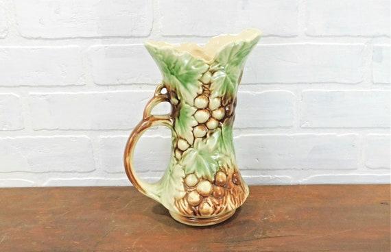 Mccoy Pottery Grape Ewer Vintage Mccoy Pottery Pitcher Vase Etsy