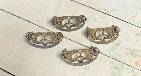 4 Vintage Brass Drawer Pulls Brass Drawer Handles Victorian | Etsy