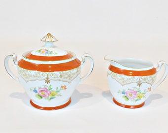 Noritake Morimura Creamer & Covered Sugar Bowl, Orange Floral Serving Pieces, Noritake Deco, Vintage Kitchen