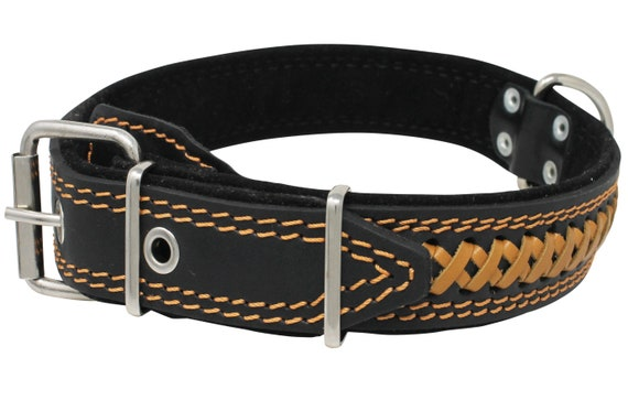 """Braided Studded Real Leather Dog Collar 17-22/"""" neck 1.5/"""" wide Pitbull Akita"""