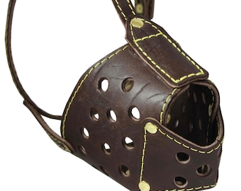 """Real Leather Cage Basket Secure Dog Muzzle Brown - Pit Bull, (Circumference 13"""", Snout Length 3.5"""")"""