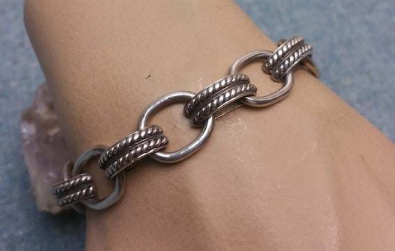 925 Sterling Silver Fancy Wide Link Bracelet 7