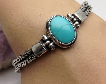 Byzantine Sterling Silver Turquoise Bali Double Chain Bracelet