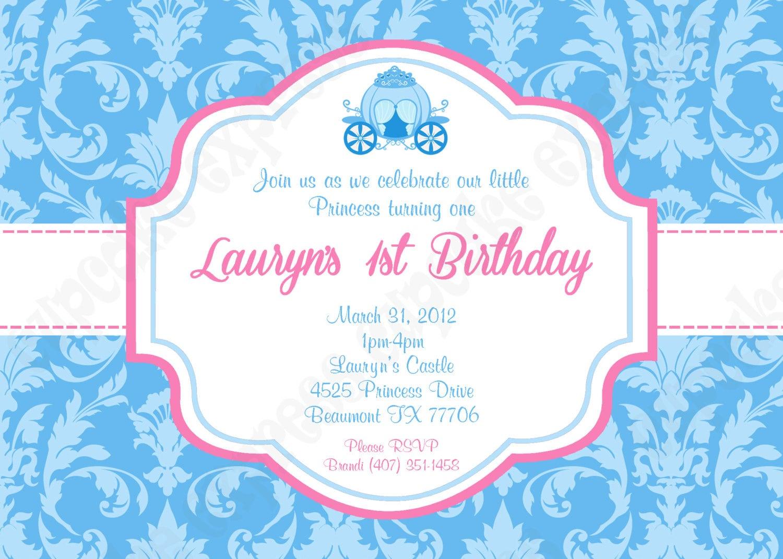 DIY Cinderella Inspired PRINTABLE Invitation 1 birthday party   Etsy