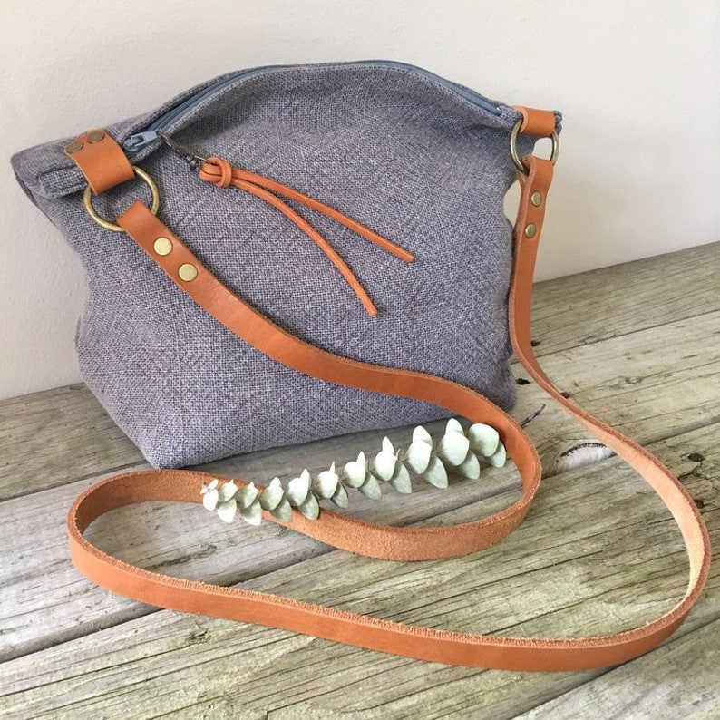 19b543414c47 blue linen and leather crossbody bag with zip and lining