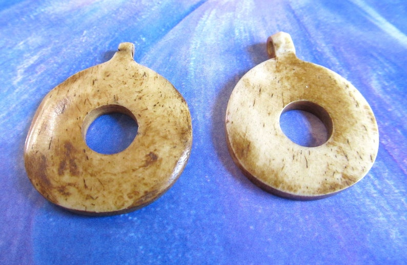 Bone Donut Pendants Large Center Hole Beige Bone Discs Tea Etsy