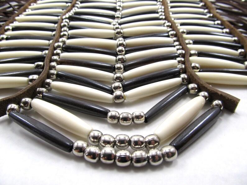 Regalia Hairpipe Choker Necklace Pow Wow Full Breastplate Native American Inspired Brown Bone Breastplate