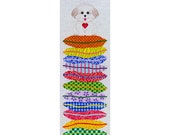 Needlepoint HandPainted JP Needlepoint DOG on a Stack 8x27 -Free US Shipping