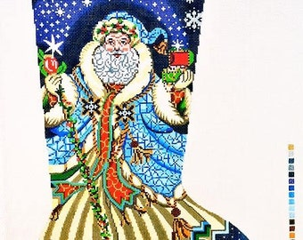 needlepoint handpainted canvas lee christmas stocking santa with blue robe 13m 13 x 23