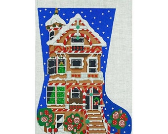 Needlepoint Canvas Handpainted Gingerbread House Stocking on 14ct.