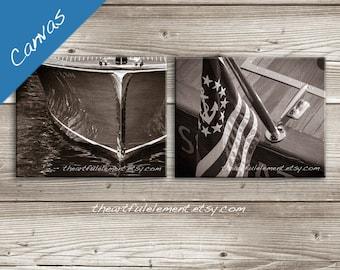Nautical wall decor, Coastal canvas art, Boat Photography, Lake house art, Canvas Set of 2, Vintage Wooden boat wall art