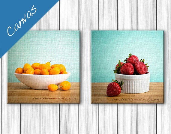Canvas Kitchen wall art, Kitchen decor, Food photography, Colorful kitchen, Strawberry, Canvas set / Summer Fruit art