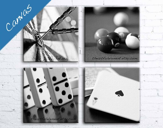 Game room decor Canvas art Billiard room decor Poker art Black and white canvas Pool art Set of 4 / Game room canvas set