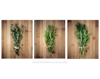Get 20% OFF Today Kitchen decor, Herb prints, Cooking art, Large wall art set, Large Home décor, Set of 3 prints / Culinary Herbs photo set