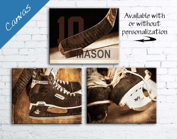 Hockey art Canvas Set, Personalized gift, Hockey decor, Sports decor, Boys room  / Vintage Hockey Set