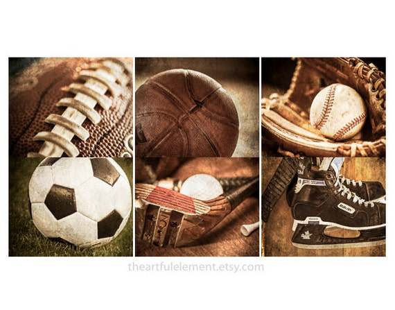 Sports wall art Vintage sports decor Sports prints Playroom Home decor / Football,Baseball,Basketball,Soccer,Hockey,Golf