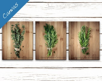 Get 15% OFF Today Kitchen art, Canvas Herb prints, Wall art series, Home décor rustic kitchen, Cooking gift, Set of 3 / Culinary Herbs set