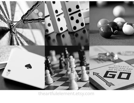 Order Now for XMAS Game room decor, Home decor prints, Play room wall art, Board game art, Chess, Set of 6 prints / Classic games photo set