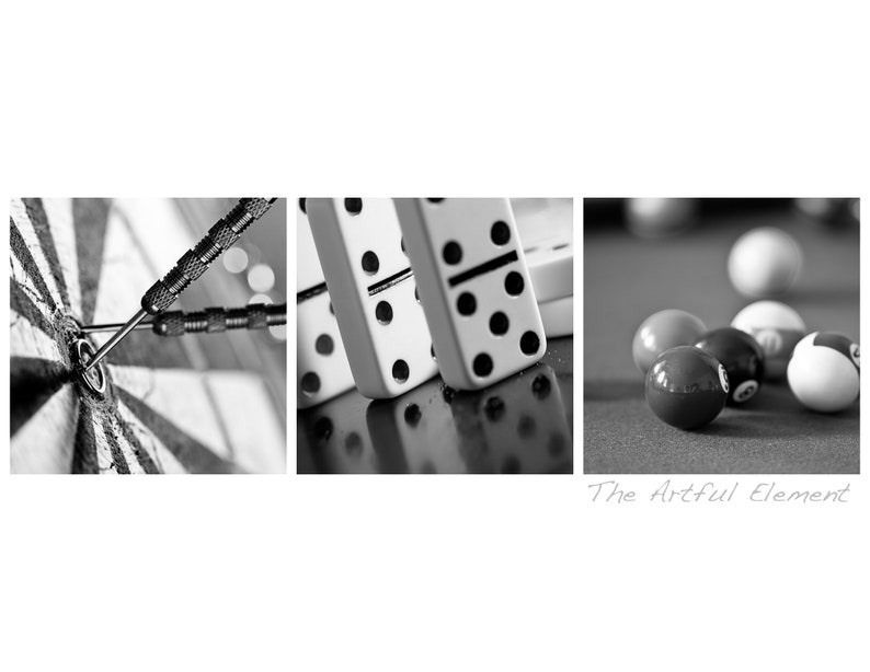 Black and White Photography Canvas Home Decor Scrabble /& more Game Room Wall Art 9 Canvas Set Dominoes Poker