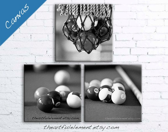 Order Now for XMAS Pool room Billiards wall art Game room decor Black and white canvas art home decor Set of three / Billiard table Set