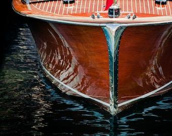Vintage Boat Photograph, Lake House Decor, Nautical Decor on Print, Canvas or Metal, Large wall art, Classic Chris Craft Coastal art