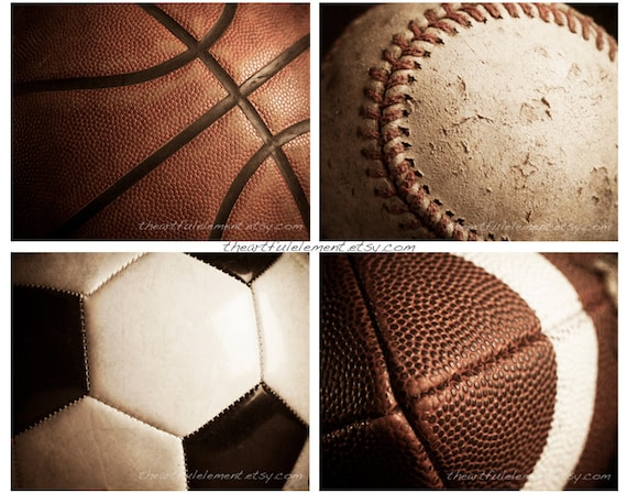 Sports decor Teen boys room wall art Man cave decor Vintage style Set of 4 prints / Basketball Football Baseball Soccer