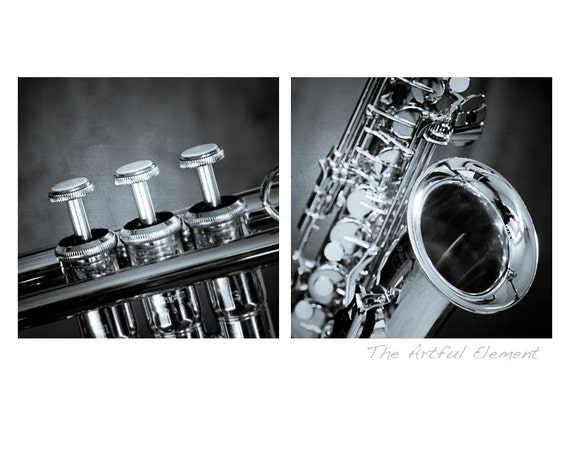 Saxophone art Music lover gift Music art Trumpet art Gifts for Musicians Jazz art Set of 2 / Brass Instruments photo set