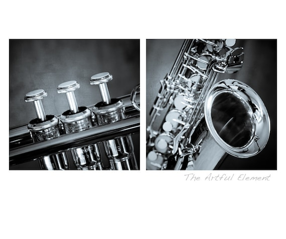 Order Now for XMAS Saxophone art Music lover gift Music art Trumpet art Gifts for Musicians Jazz art Set of 2 / Brass Instruments photo set