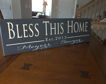 "Personalized Established Sign Family Name Sign Bless Home Sign-7""x24"""