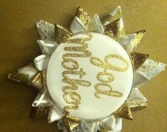 Godmother, baptism button