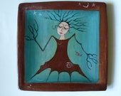SQUARE TREE LADY PLate, Handmade Plate, Goddess Plate, Nature Plate, Art Dish, Sprite, Wood Nymph