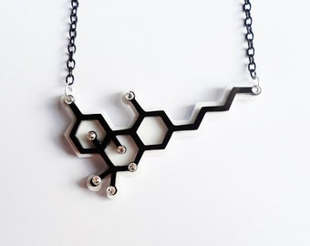THC Cannabis molecule necklace