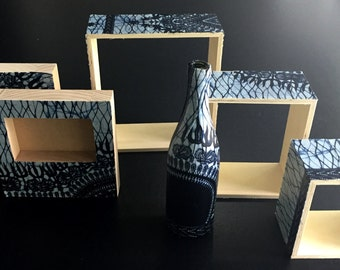 AnkaraWare (African Print Fabric): photo frames, nesting shelves and a bottle