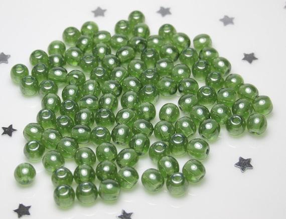 Olivine Green AB 100 4mm Round Pressed Czech Glass Druk Beads
