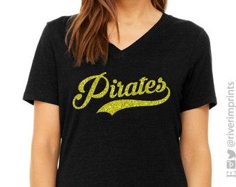 6c434d5a Glitter PIRATES Mascot Womens Shirt, Pirate Bling V-neck Tee, Ladies  Sparkle Pirate Fan Shirt, School Mascot, Team Spirit