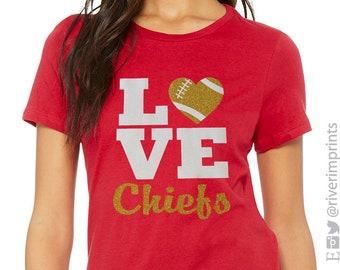 Glitter LOVE CHIEFS FOOTBALL Womens Shirt 0e1f527a9